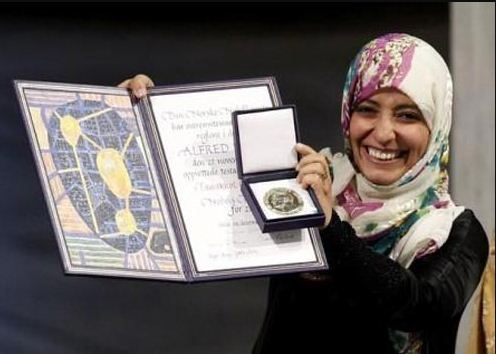 حصول توكل كرمان على جائزة نوبل